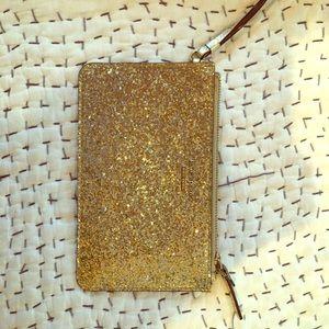 Kate spade gold glitter wristlet!!!!!